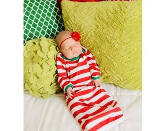 Monogram and/or Appliqué Unisex Blue & White Striped Christmas Pajamas PJs