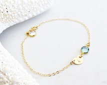 14k gold filled heart birthstone bracelet,personalized anklet,little girls bracelet,baptism,heart tag with initial,2 swarovski birthstones