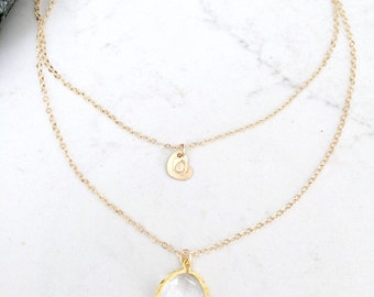 layered crystal necklace personalized heart necklace 14k gold filled monogram necklace heart custom initial April Birthstone crystal jewelry