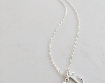 Erinite Anchor Necklace Silver Anchor Necklace Aquamarine Necklace Aquamarine Jewelry March Birthstone 925 Sterling Silver Bridesmaids sets