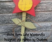 Large Red Star Flower, Yellow Center and Green stem leaves, Primitive Hand painted Wall Decor, Summer Spring decor, Decoration, Whimsical