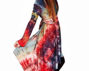 Tie Dye Hoodie, Galaxy Cardigan, Elven Clothing, Kimono Cardigan, Festival Cardigan, Hooded Cape, Colorful Top, Summer Cardigan