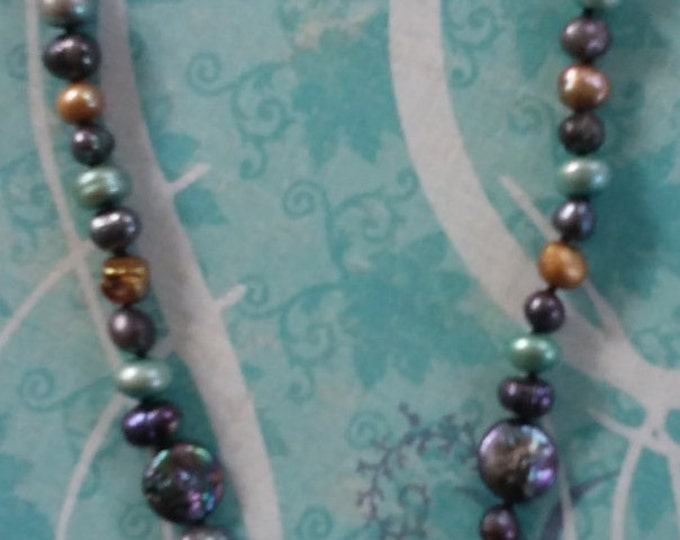 Fresh Water Pearl Necklace Dyed Pearls on Black Silk Cord Nickle Free Clasp 18 Inches Long