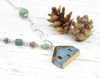 Finally Home - Rustic Oxidized Sterling Silver Necklace with Blue Ceramic House Pendant