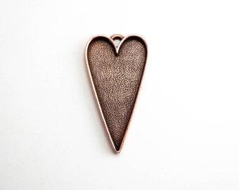 1 x Antique Copper Grande Heart Pendant , Nunn Design Bezel, Heart Bezel, Copper Bezel, Heart Pendant, Copper Heart Pendant CHM0132