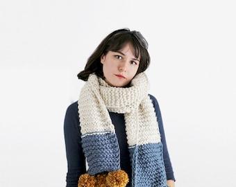 Chunky Knit Pom Pom Scarf - Tricolor Knit Scarf - Pom Pom Knit Scarf in Denim, Gold & Cream | The Saturn Scarf |