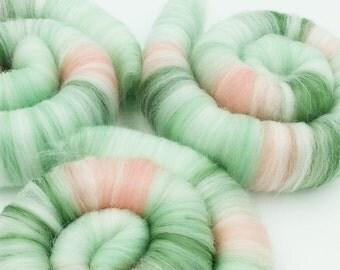 Hand blended spinning rolags - merino, bamboo silk, seafoam, jade & salmon 1 oz +