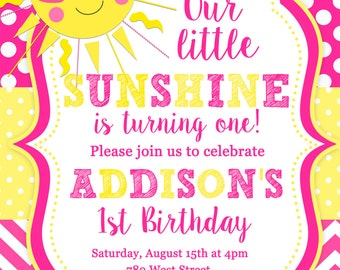 You are my Sunshine, Sun, Birthday Party Invitation - Printable or Printed