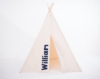 Personalized Teepee, Natural Canvas Teepee, Kids Teepee, Kids Play Tent, Playhouse, Play Tent, Tee Pee, Childrens Teepee, Tent, Kids Tent