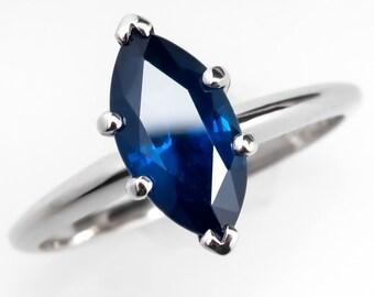 Marquise Blue Sapphire 2 Carat Solitaire Platinum Ring WM9721