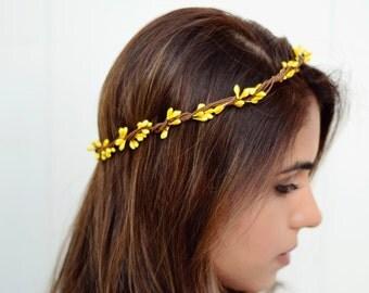 THE BELINDA - Yellow Sprout Woodland Wreath Crown Flower Floral Girl  Bridal Wedding Hair Boho wedding headpiece Halloween Costume