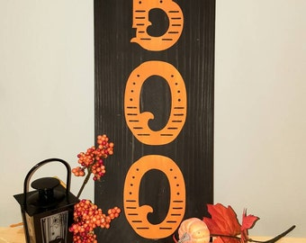 """BOO black and orange Halloween sign. Porch Halloween sign. 18x12"""" Halloween decor sign. Detailed BOO Halloween sign."""