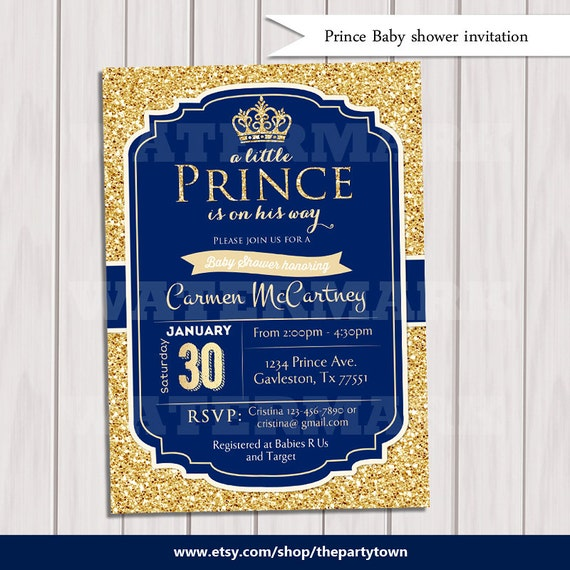 prince baby shower invitation royal blue gold baby shower invitation