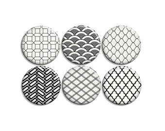 Black & white geometric set - pinback buttons or magnets 1.5""