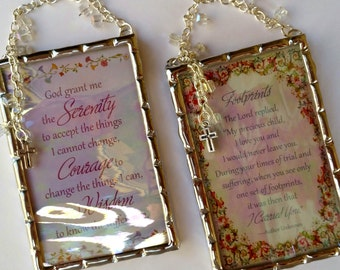 Footprints and Serenity prayers set of two plaques soldered in iridescent water glass with crystal cubes and crosses