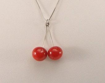 Murano Glass Cherries Necklace , Glass jewellery, glass cherry pendant