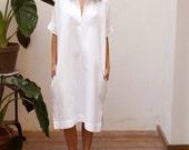 SALE 30% OFF White beach dress women,linen wedding dress,knee length dress,midi shirt dress,short sleeve dress,plus size dress,oversized