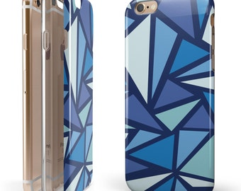 Large Vector Shards of Blue - iNK-Fuzed Hybrid Two-Piece iPhone Case