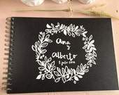 Signature Wedding guest book, custom, hand - painted model 'Floral'