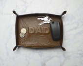 custom DAD leather tray / catch all / mens / dresser organizer / valet tray / personalized mens gift / jewelry bowl/ new dad / fathers day