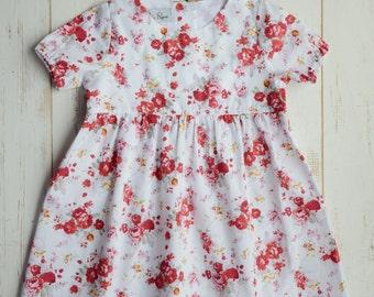 Girls Flower Dress, Cotton, Bottom Frill, Short Sleeve