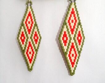 Beaded earrings, geometrical earrings, olive, orange, beaded earrings, chandelier earring, beaded earrings, diamond shaped, bohemian, bright