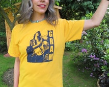 RESERVED FOR PAT: Screen Printed Gram Parsons Yellow T-Shirt Unisex Medium Short Sleeve