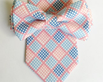 pink and blue tie, mens pink bowtie, boys pink bowtie, pink and blue wedding, pink and blue bowtie, pink ties, pastel ties, easter bowtie