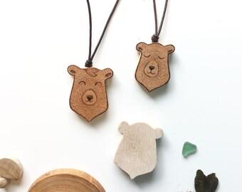 Wooden sweet bear pendant - eco wood
