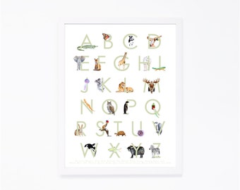 Animal Alphabet Art - Alphabet Wall Art - Child's Room Decor - ABC Art - Animal Alphabet Print -  Alphabet Poster - Kids Room Decor