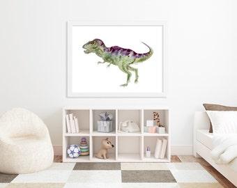 TRex Art Print - Dinosaur Nursery Art - Tyrannosaurus Watercolor - Dinosaur Art Print - TRex Nursery Print - Large Kids Wall Art - Gift
