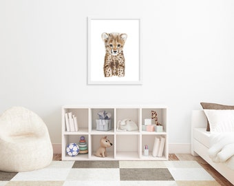Cheetah Print, Animal Art, Cheetah Cub Portrait, Cheetah Art, Kids Wall Art, Home Decor, African Decor, Wildlife Art, Animal Portrait