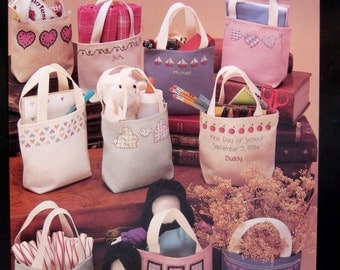 Lil' Totes For Cross Stitch By Jean Farish Needleworks Vintage Cross Stitch Pattern Leaflet 1987