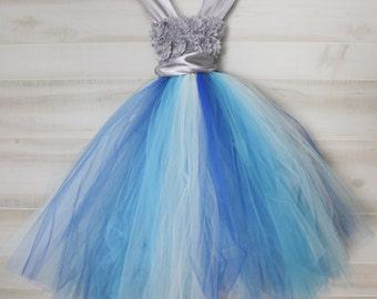 Flower girl dress - tutu dress - tulle dress -Infant/Toddler - Pageant dress - wedding  Princess dress-Peacock flower dress- First Communion