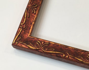 Ornate Picture Frame, Red Picture Frame, Gold Ornate Frame, Aged Frame, Antique Design, 3x5, 4x6, 5x7, 8x10, 11x14, 16x20 + Custom Sizes