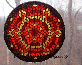 Stained Glass on Glass Mosaic - Large Circular Red, Orange & Yellow Suncatcher / Plate