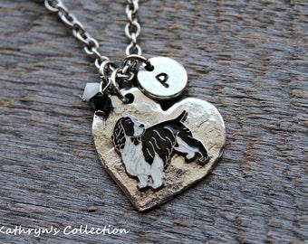 English Springer Spaniel Necklace, Springer Spaniel Jewelry, Springer Spaniel Gift, Heart Dog, Black and White Springer