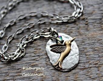 Hummingbird Necklace, Hummingbird Jewelry, Bird Necklace, Bird Jewelry, Gift for Bird Watcher
