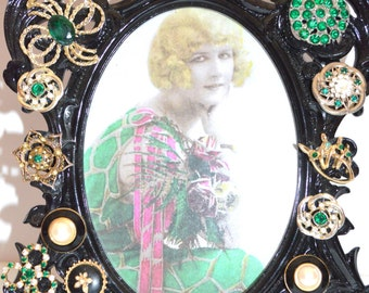 Vintage JEWELRY PICTURE FRAME,Embellished and Repurposed Jewelry Frame  8 1/2 X 12
