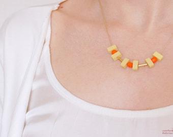 SALE 30 % OFF, Minimalist orange necklace. Orange glass necklace birthday. Orange necklace gifts for her