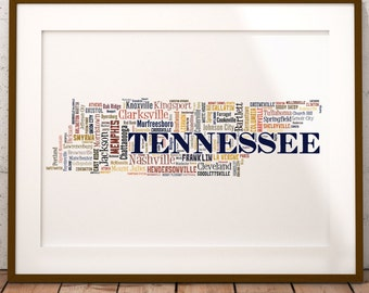 Tennessee Map Color Typography Map Art,Tennessee Cities & Towns Map Poster,Tennessee Poster Print,Text Art Print,Word Map