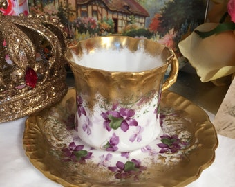 Very Fine Vintage Bone China Teacup and Saucer- heavy gilding-  Hammersley & Co.  England- Violets and Gold