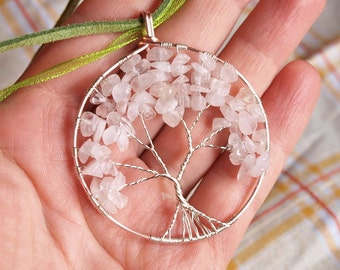 Rose Quartz Tree of Life Pendant/Rose Gold and Silver Wire/Spring Colors Tree/Pink Tree