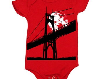 Portland St Johns Bridge with a Full Moon on Baby Girl or Baby Boy Bodysuit, Infant Cotton Onepiece, Made in the USA