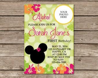 Tropical Minnie Birthday Invitation, Digital File, You Print