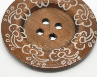 """Extra Large Coffee Colored Wood Sewing Button Round Four Holes Swirly Flower Pattern - 2 3/8"""""""