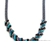 "Bead Kit & Tutorial for DIY Beaded Kumihimo Necklace ""Monica's Pop of Color Light Teal"""