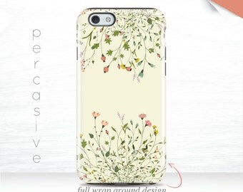 iPhone 7 Plus Case Pink Floral iPhone 6s Yellow iPhone SE Case, Galaxy S7 Tough Case Spring, iPhone 5s Case 3D iPhone 7 Case Wildflower 02g