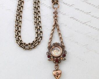 Antique Miniature Portrait Necklace, Victorian Rose Gold Filled Filigree Heart Pendant Romantic Boho Bohemian Bridal Bridesmaid Gift Jewelry