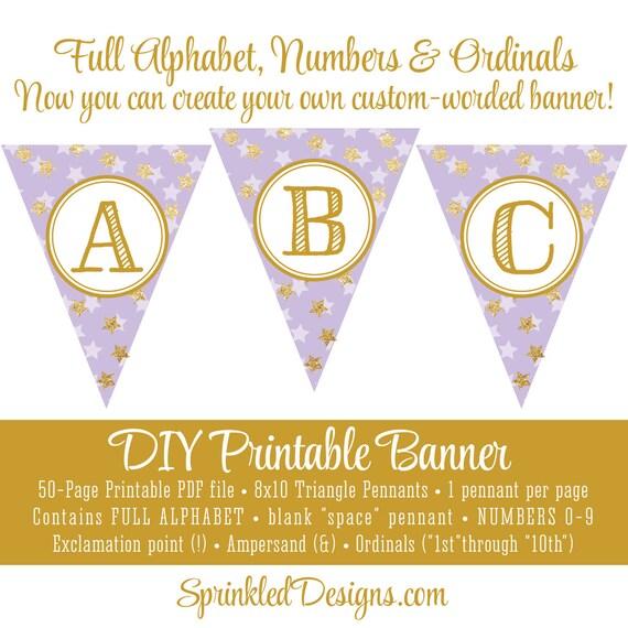 Printable Diy Pennant Banner Full Alphabet Twinkle Little Star